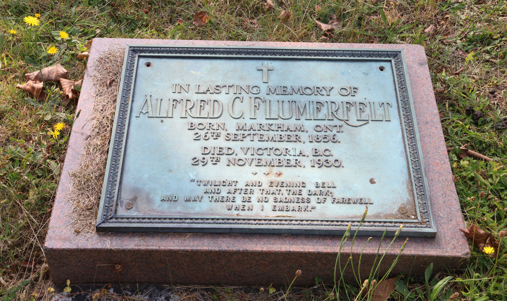 Alfred Cornelius Flumerfelt grave marker, Ross Bay Cemetery, Victoria, BC (photo by Author)