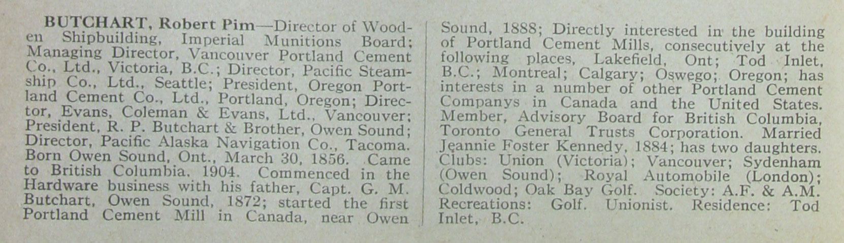 Robert Butchart's entry in the 1917 edition of Who's Who In Canada And Why.