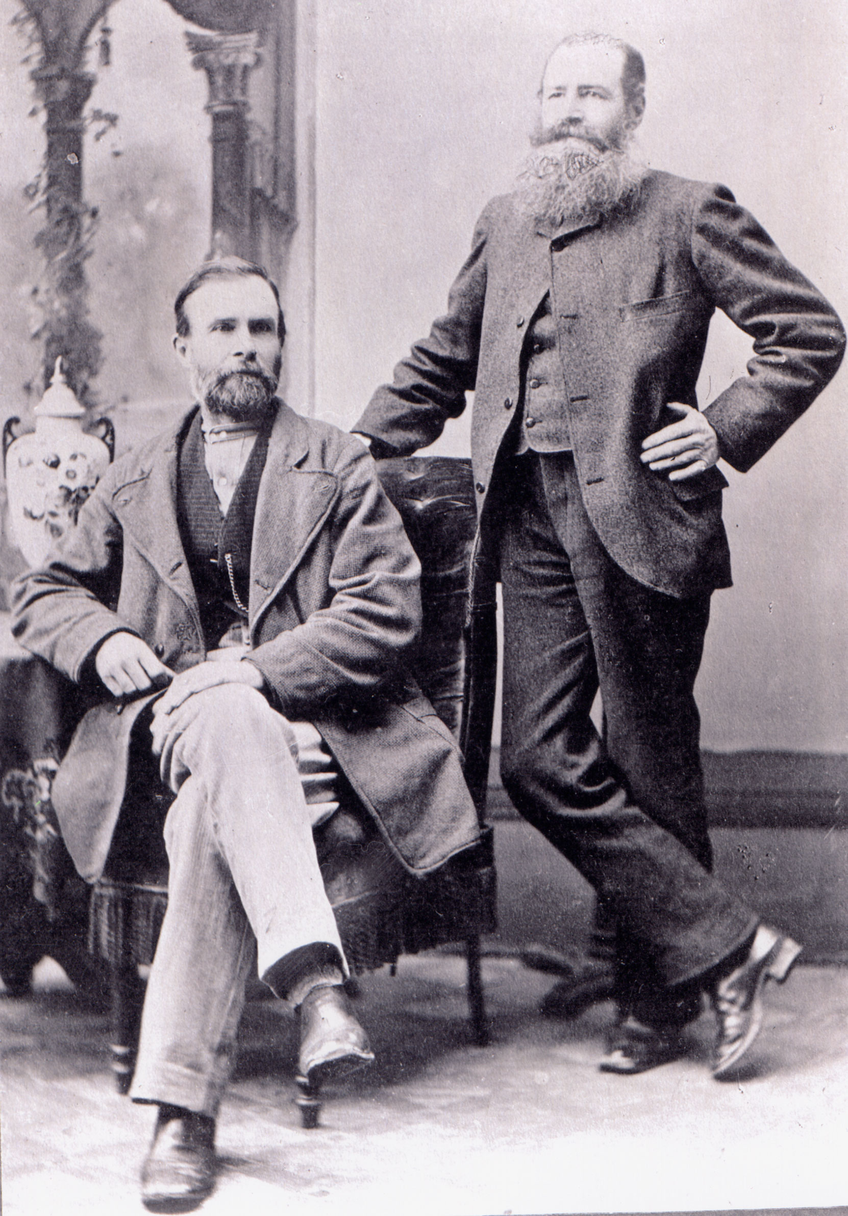 Peter Fernie (standing) and William Fernie (seated), circa 1870 (BC Archives photo A-02147)