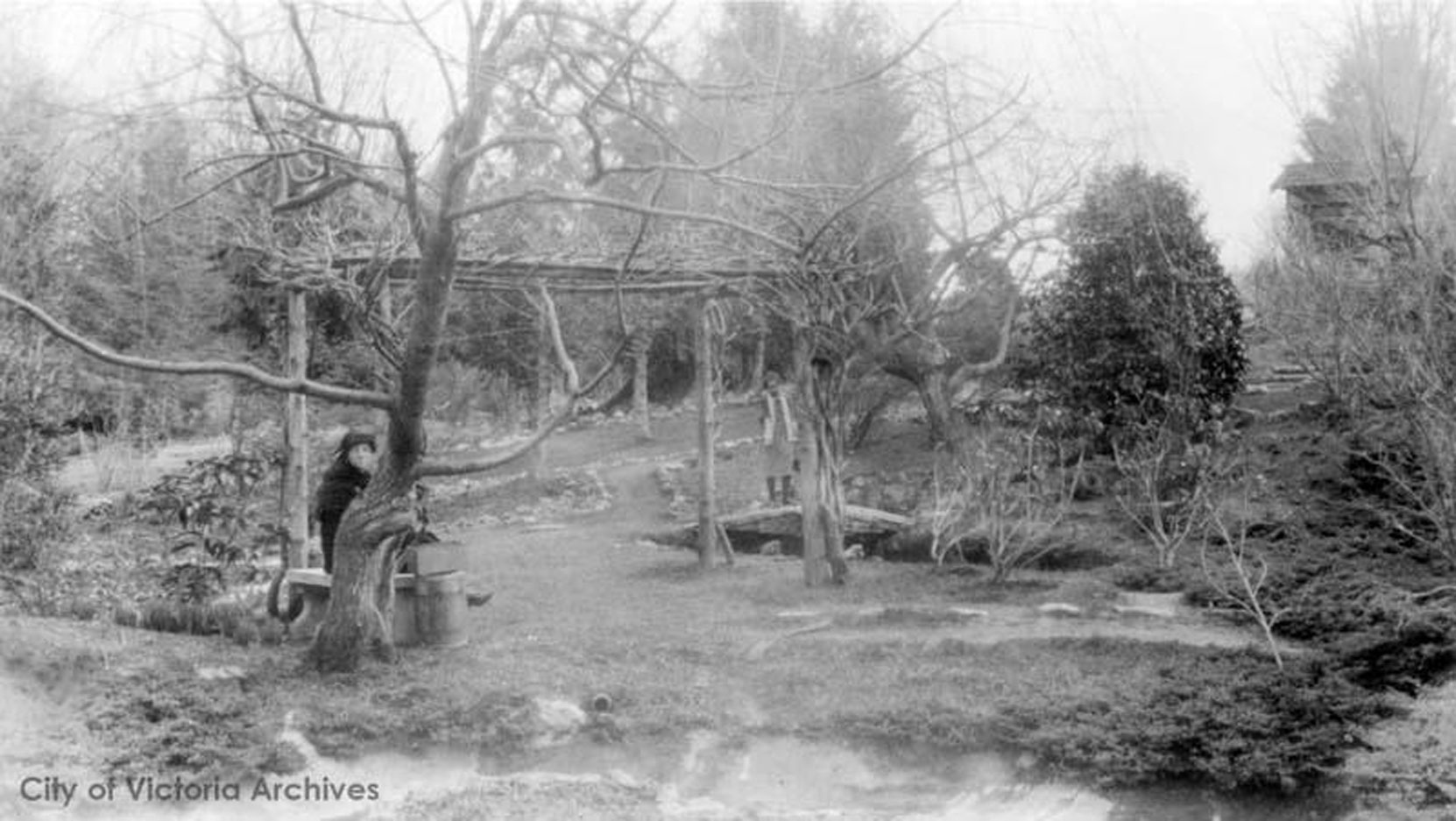 The Japanese Gardens in the early stages of its development, circa 1910, likely during its installation by Isaburo Kishida. (City of Victoria Archives M05822)
