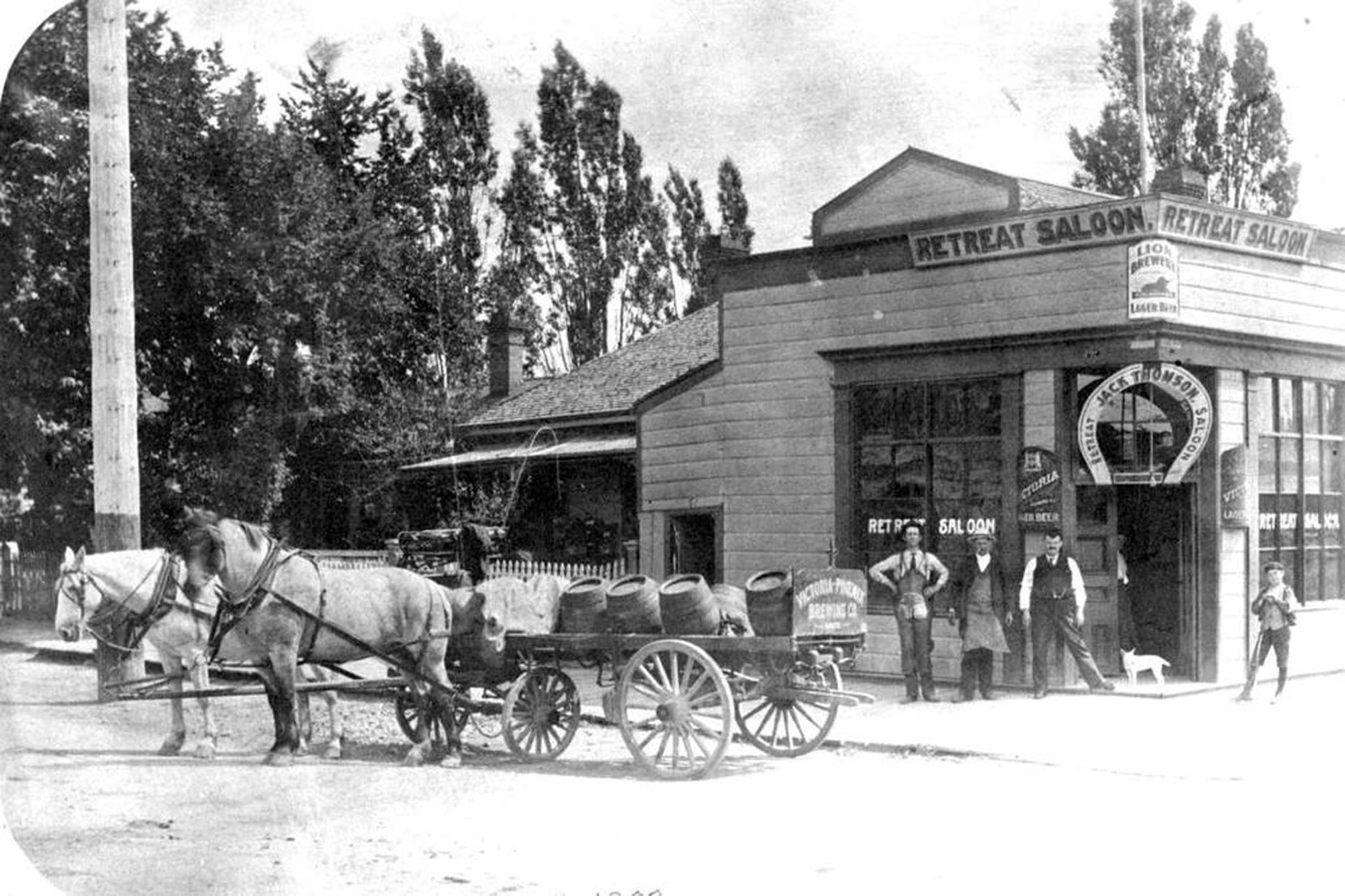 Joseph Wrigglesworth's Retreat Saloon, on the southeast corner of Yates Street and Blanshard Street in downtown Victoria, circa 1900. (BC Archives photo D-00334)