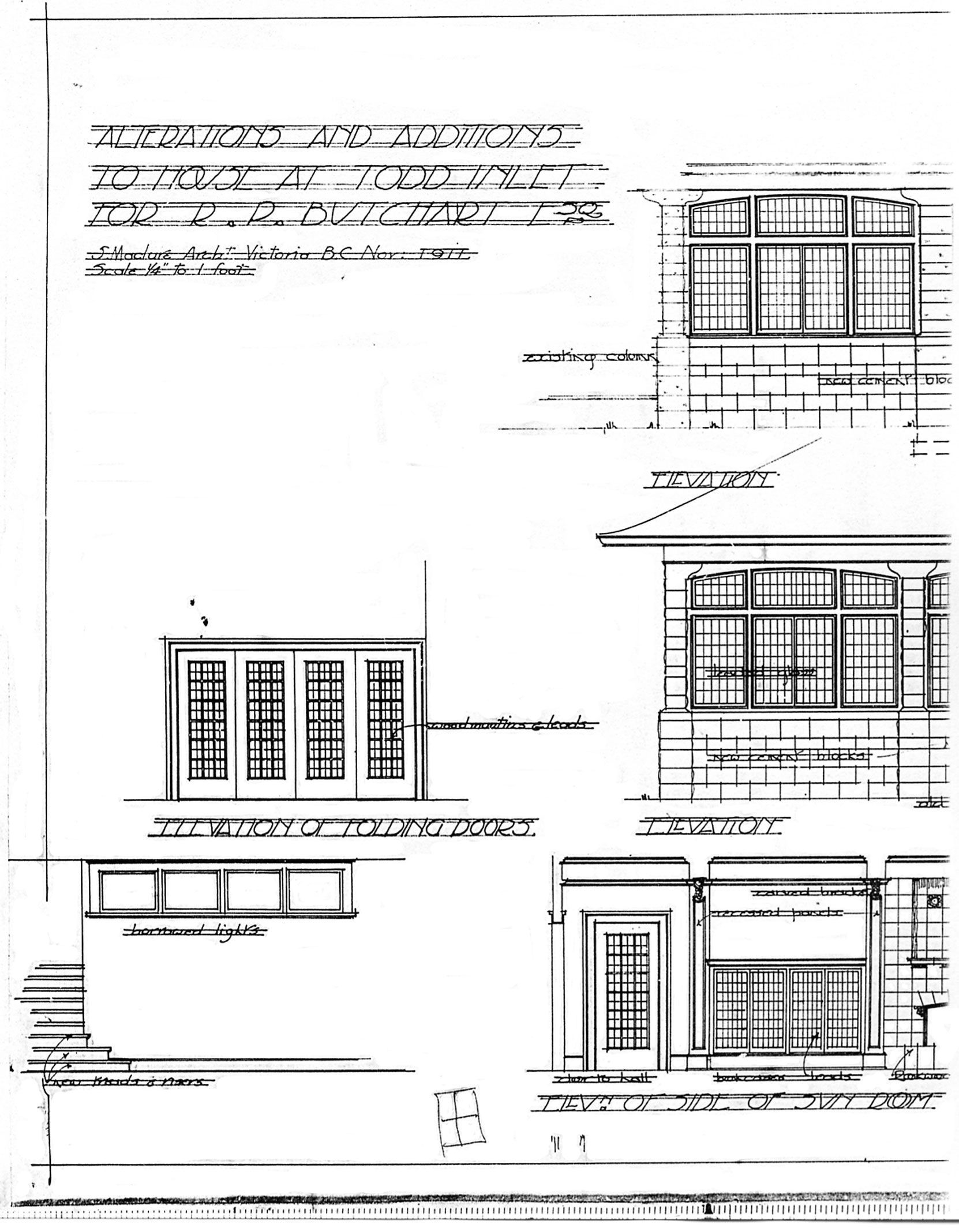 Samuel Maclure architectural drawing in interior and exterior details of the Sunroom Addition at Benvenuto, November 1911. (Courtesy of UVic Library - Special Collections)