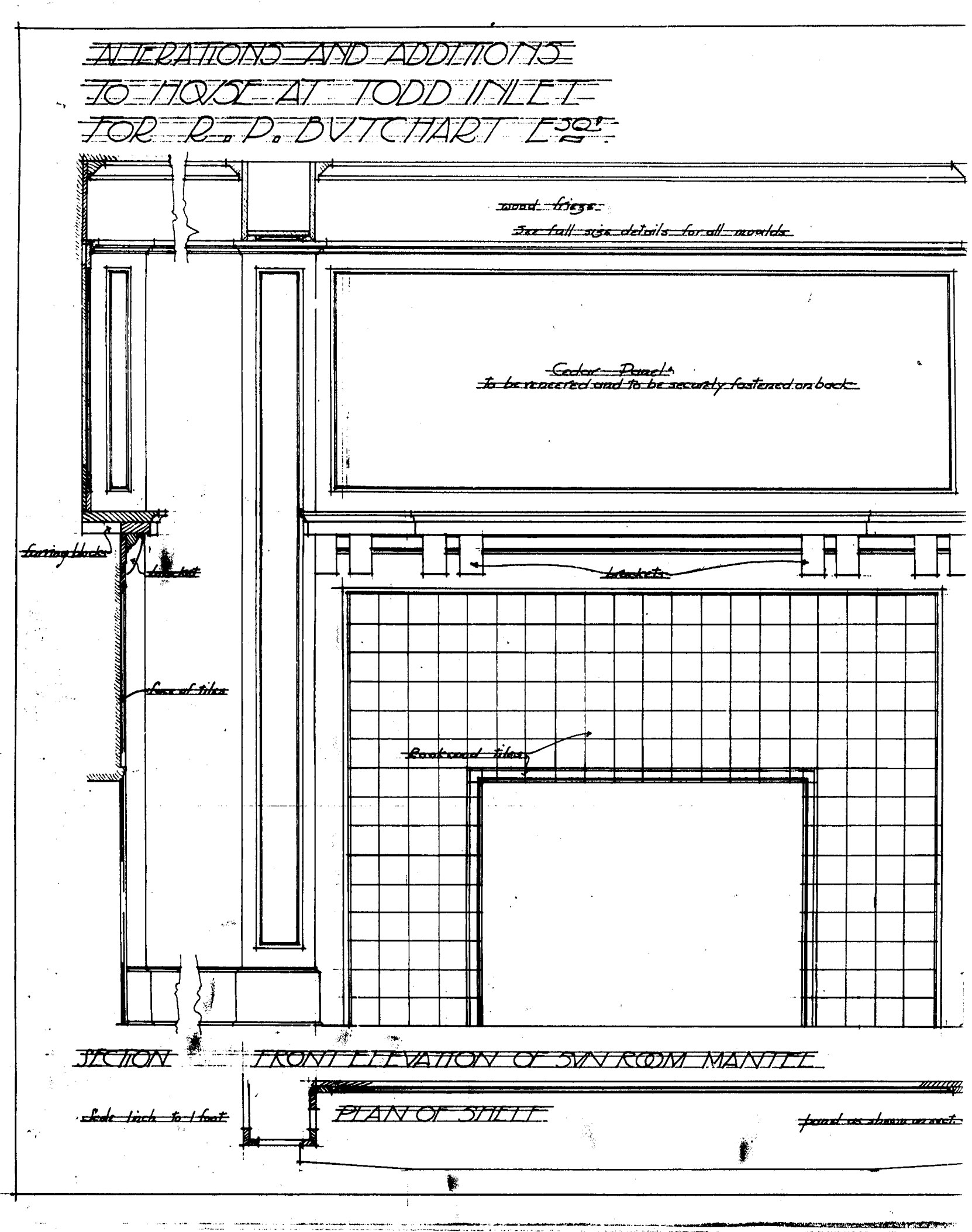 Samuel Maclure architectural drawing of the Sun Romm Mantle interior detail of the Sunroom Addition at Benvenuto, December 1911. (Courtesy of UVic Library - Special Collections)