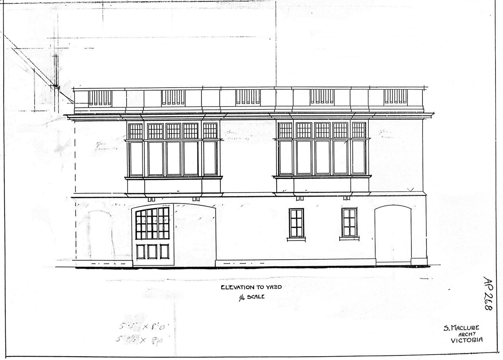 Samuel Maclure drawing of the addition to the east side of Benvenuto, south elevation, 1913 (Courtesy of UVic Library - Special Collections)