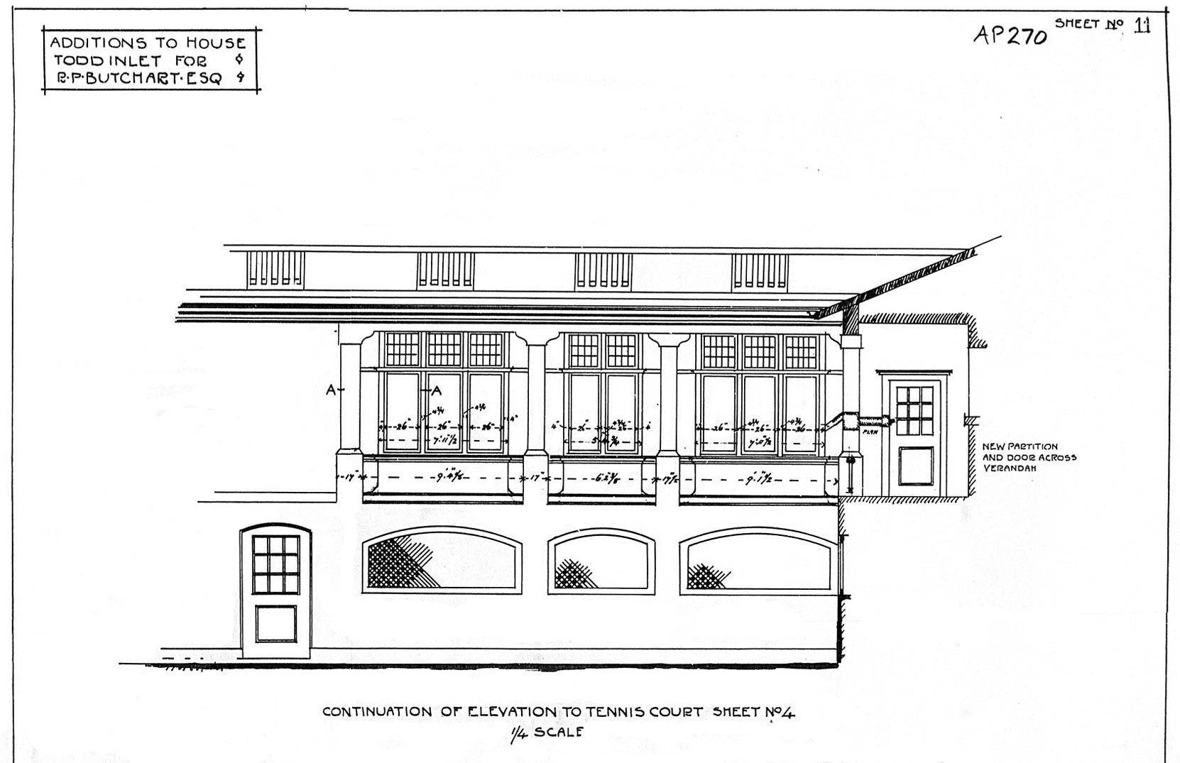 Samuel Maclure drawing of the addition to the east side of Benvenuto, north elevation (now facing the Italian Garden), 1913 (Courtesy of UVic Library - Special Collections)