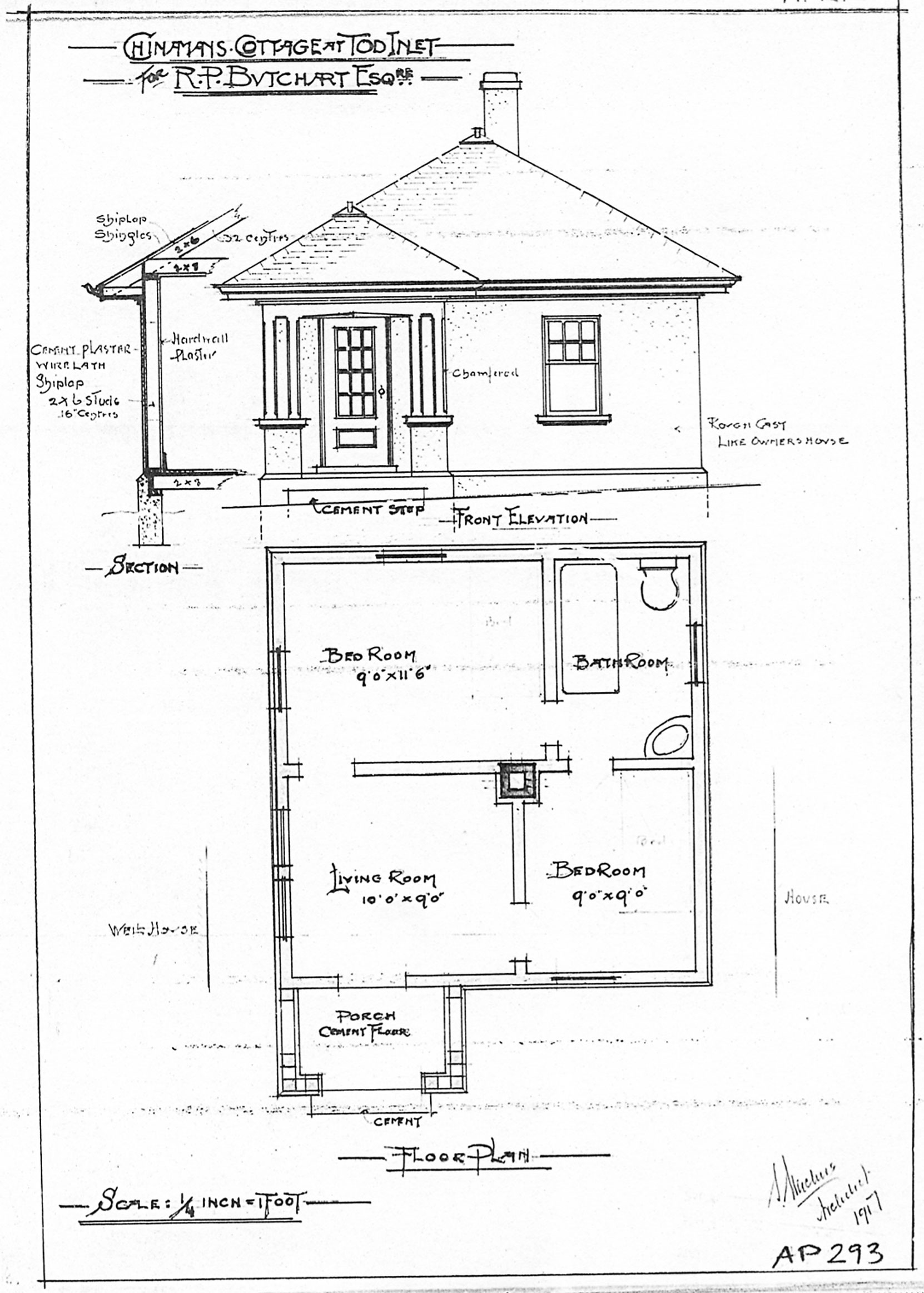 """Samuel Maclure architectural drawing of the """"Chinaman's Cottage"""" for Robert Butchart, Esq., 1917 (courtesy of UVic Library - Special Collections)"""