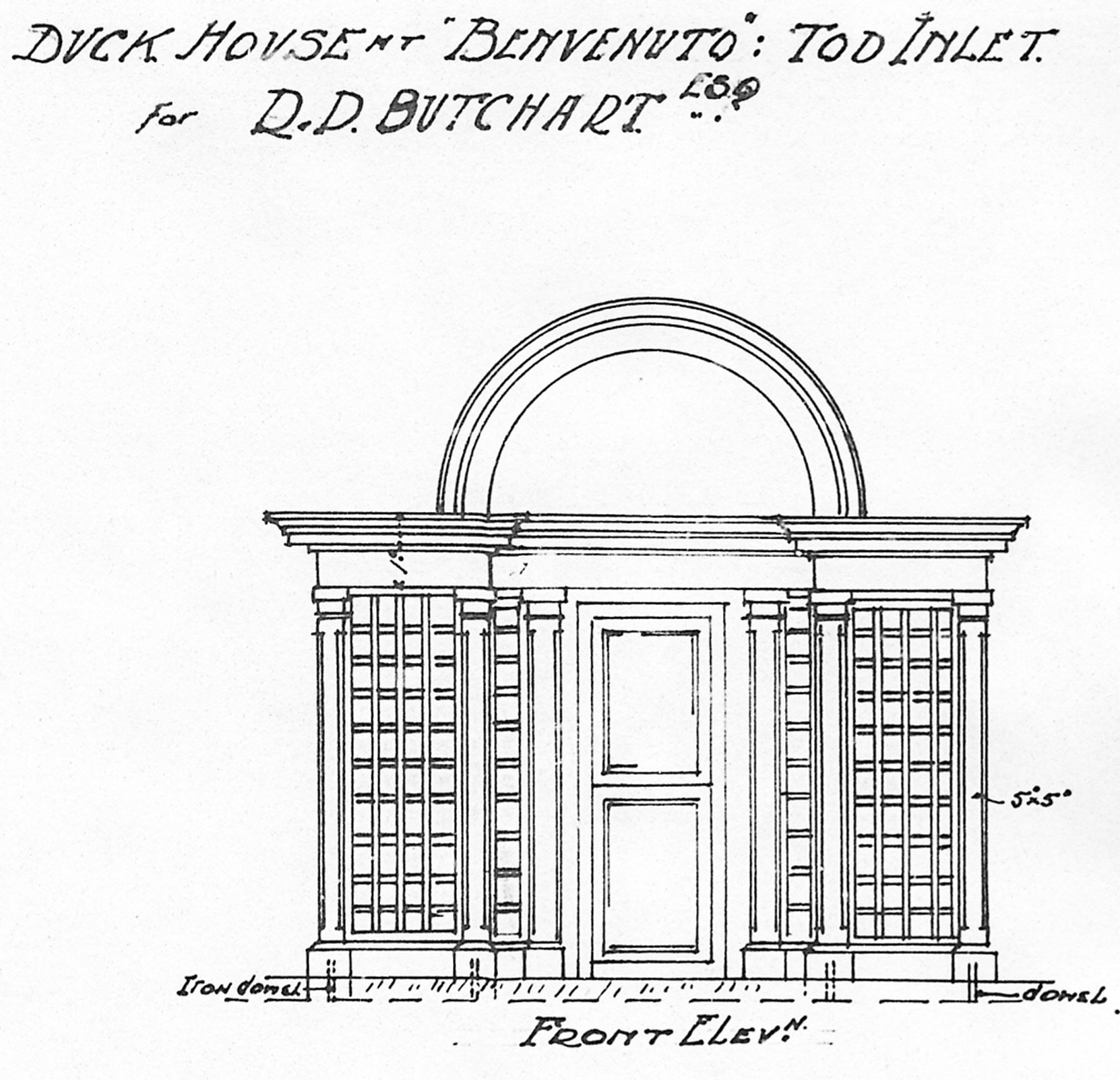 Samuel Maclure architectural drawing for the Duck House at Benvenuto, circa 1925. (Courtesy of UVic Library - Special Collections).