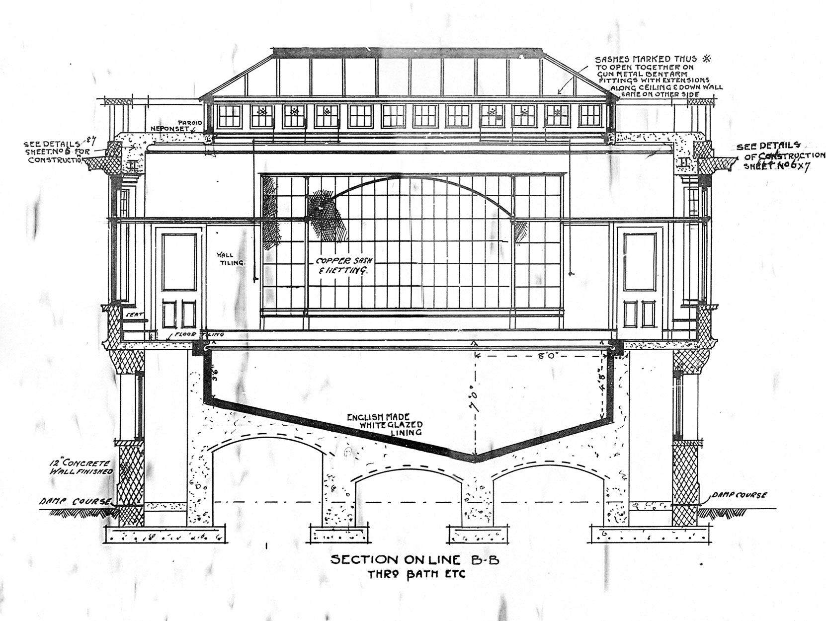 Samuel Maclure architectural drawing of the Swimming Pool addition to Benvenuto, 1913 (courtesy UVic Library - Special Collections)