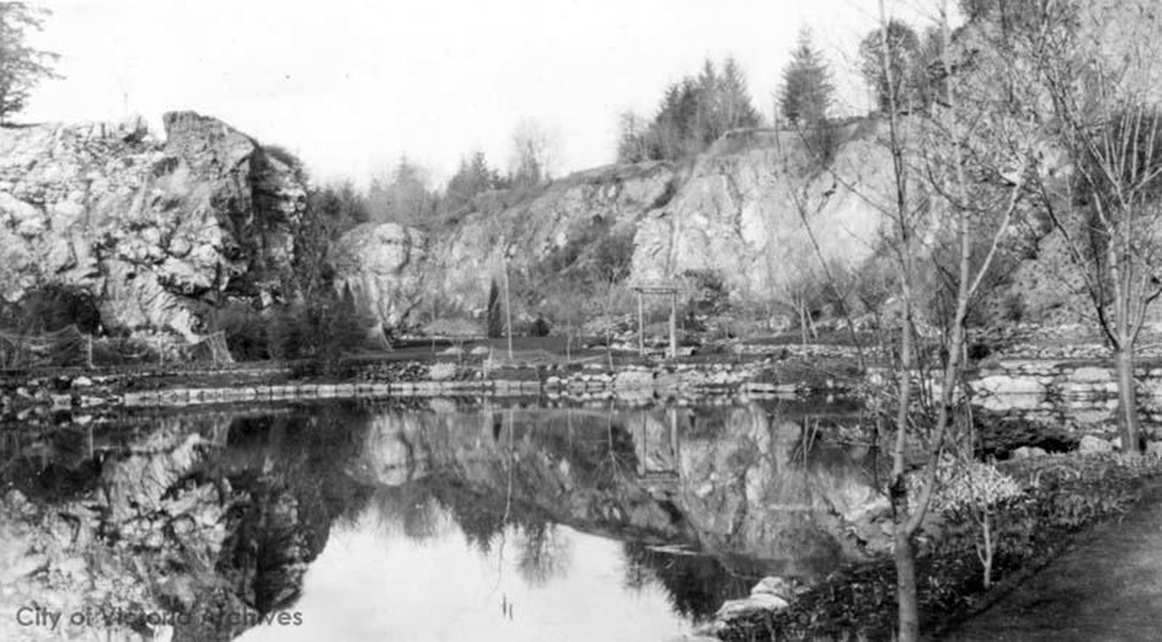 The Sunken Garden and the Trout Pond, looking north, circa 1910. (City of Victoria Archives photo M05818)