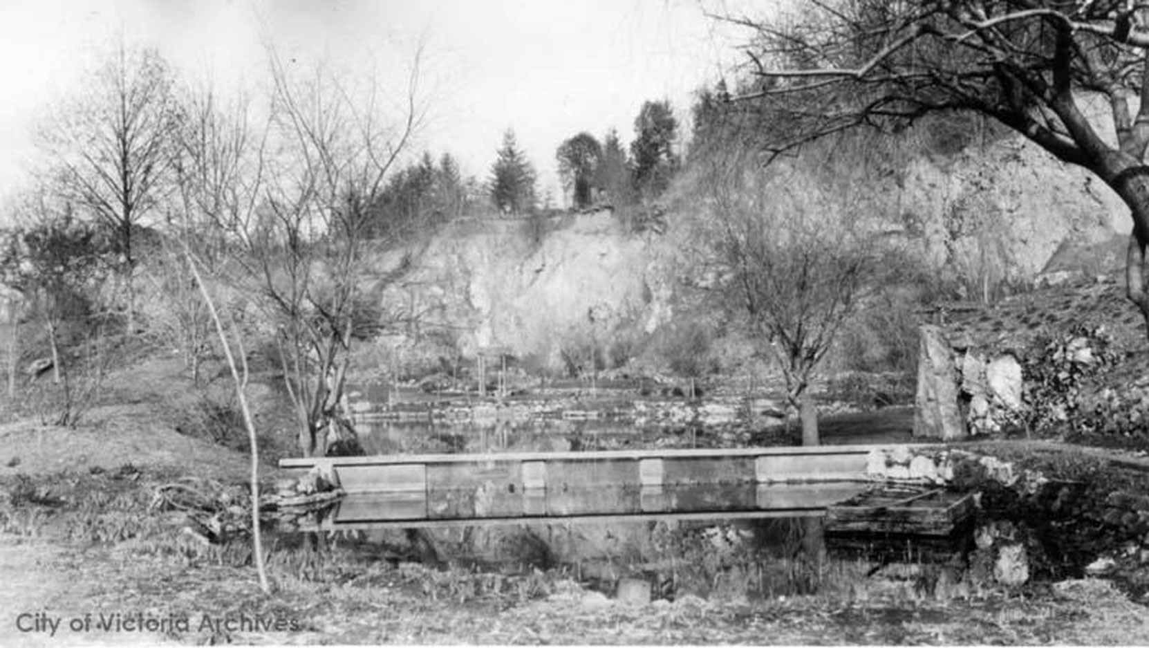 Sunken Garden Trout Pond, circa 1910 (City of Victoria Archives photo M05819)