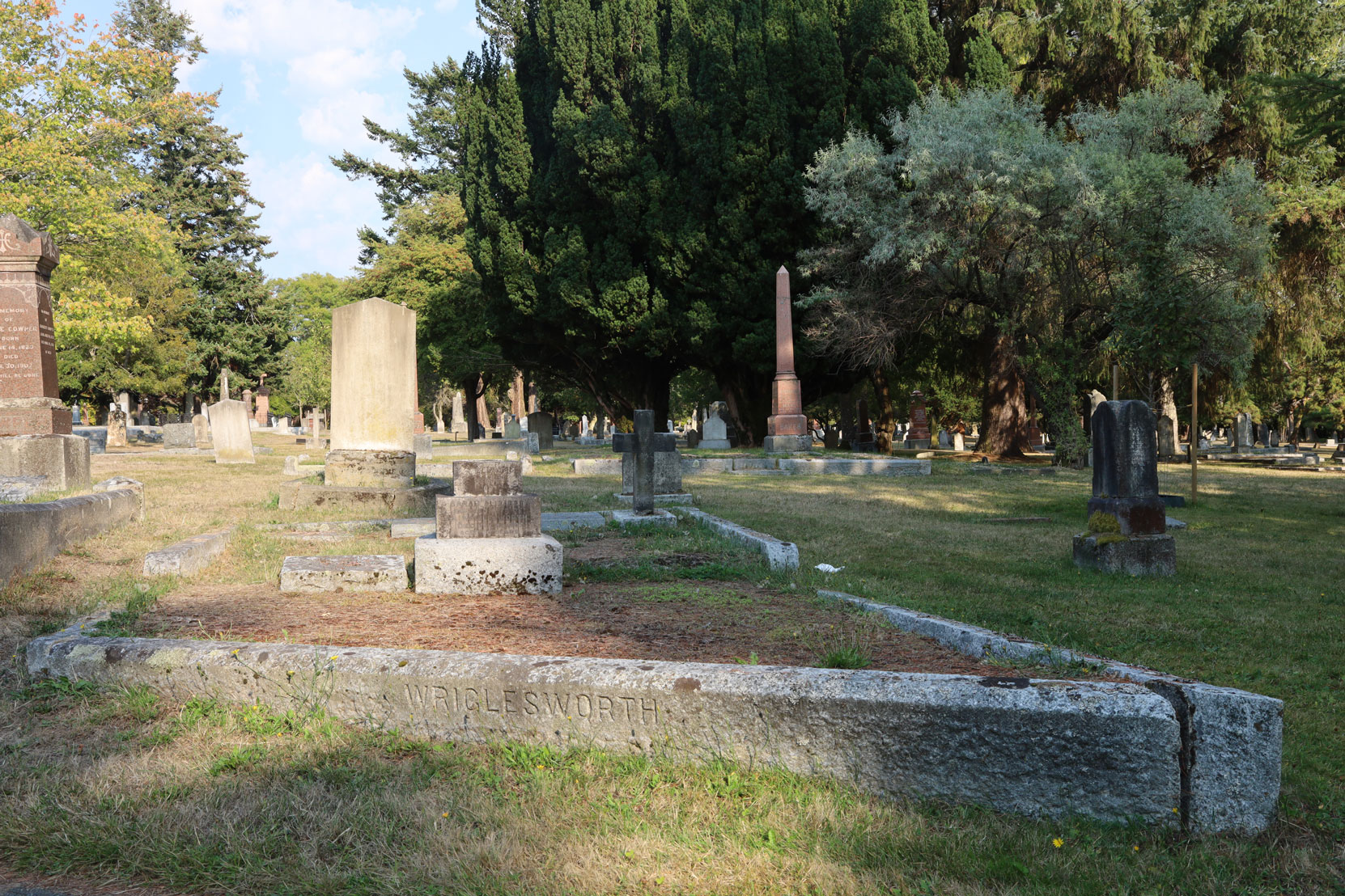 The Wriglesworth family grave in Ross Bay Cemetery, Victoria, BC. Joseph Wrigglesworth and Charles Wrigglesworth are buried here. (Photo: Mark Anderson)
