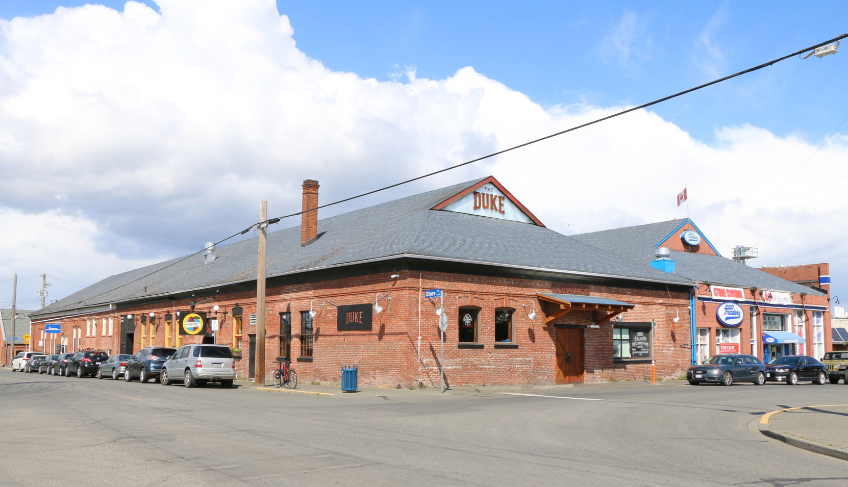 The former B.C. Electric Railway Company street car garage, built in 1901, at 502-508 Discovery Street in downtown Victoria (Photo by Author)